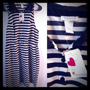 Dizzy Lizzy Large Dress BNWT cream black stripe